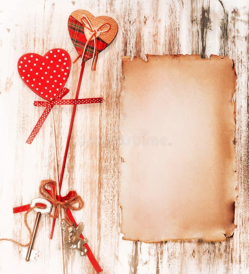 Romantyczny valentine rocznika list kolor tła wakacje czerwonego żółty royalty ilustracja