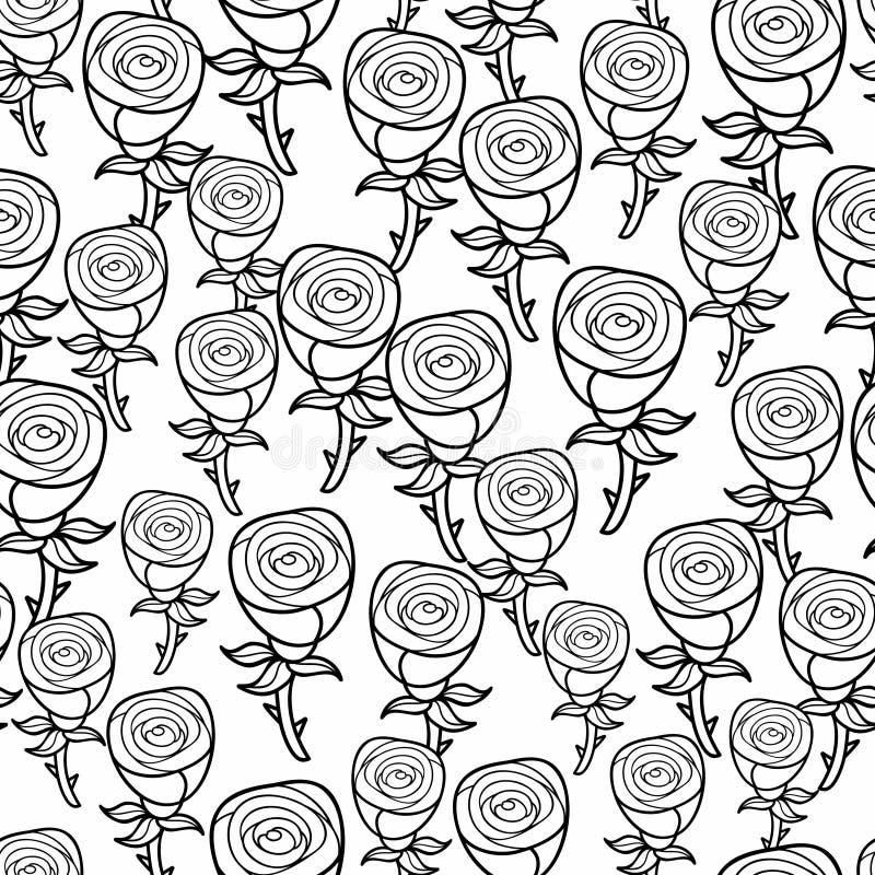 Romantyczny wzór czarny i biały róże ilustracja wektor