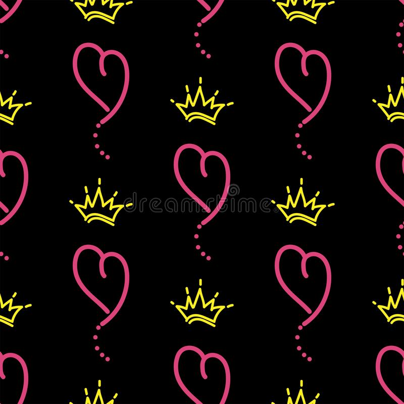 Romantyczny wzór z sercami i koronami rysującymi ręcznie Nakre?lenie, doodle, skrobanina ilustracja wektor