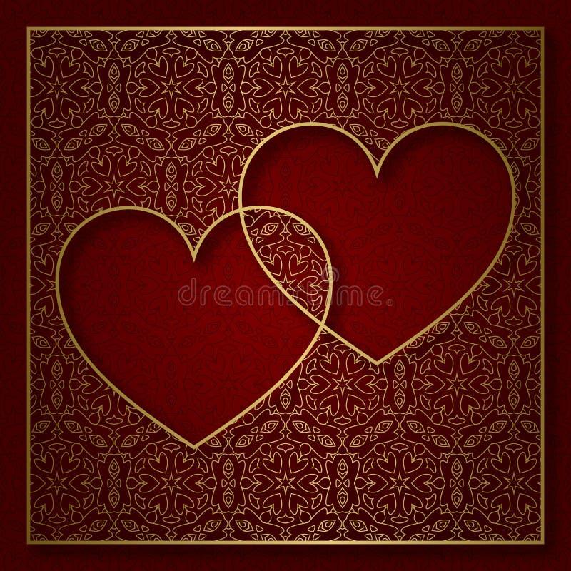 Romantyczny wzorzysty tło z ramą dwa serca royalty ilustracja