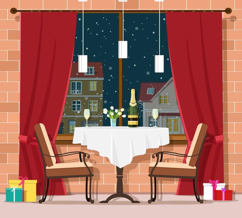 Romantyczny zima wieczór pojęcie Elegancki rocznik restauraci stół z krzesłami również zwrócić corel ilustracji wektora ilustracji