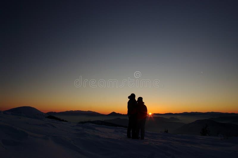 Romantyczny zima zmierzch zdjęcie royalty free