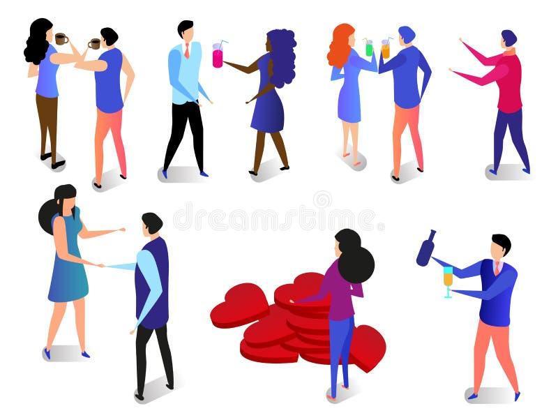 Romantyczny związku set para szczęśliwej miłości ilustracji