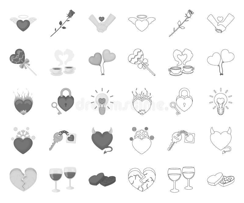 Romantyczny związek mono, kontur ikony w ustalonej kolekcji dla projekta Mi?o?ci i przyja?ni symbolu zapasu wektorowa sie? ilustracji