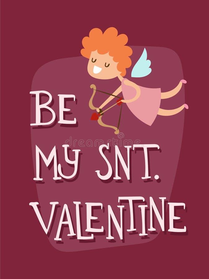 Romanze abstrakte dekorative Fahne der glücklichen Valentinsgrußtagesengels-Grußkarten-Vektorillustrations-Liebe vektor abbildung