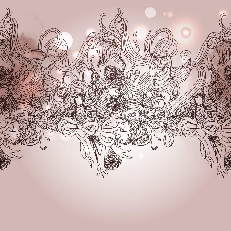 Romanze Hintergrund der Weinlese mit Vogel und Florenelementen vektor abbildung