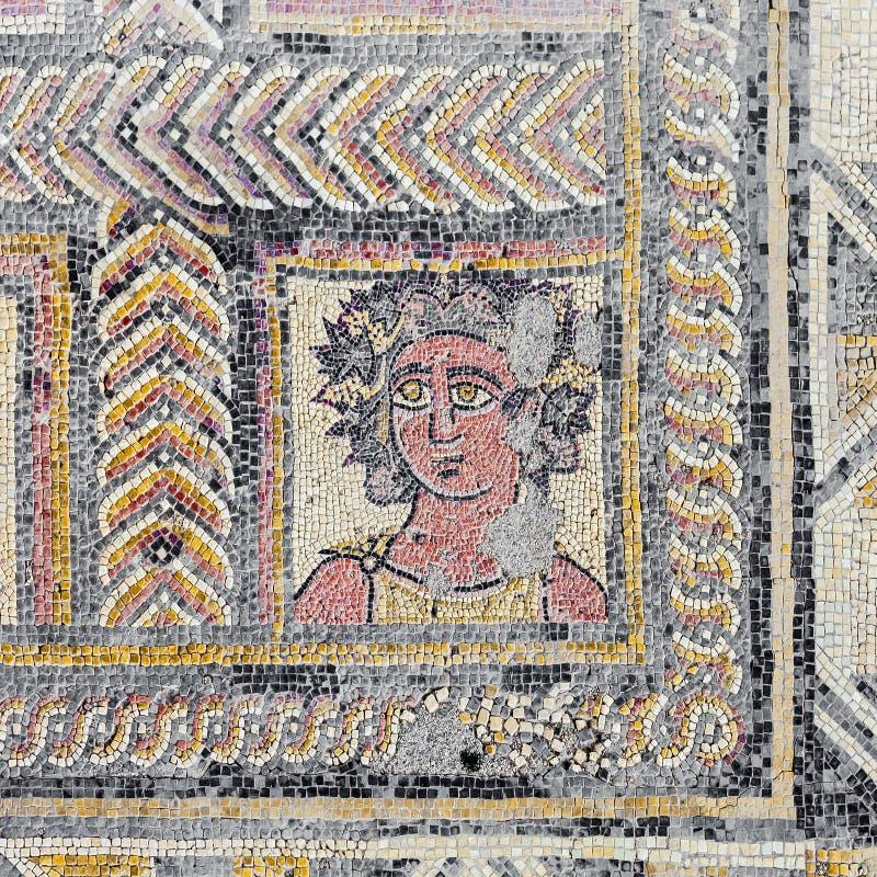 Romaren fördärvar av Conimbriga Romersk mosaik som beskriver det Autumn Season eller nedgångteckenet royaltyfri foto