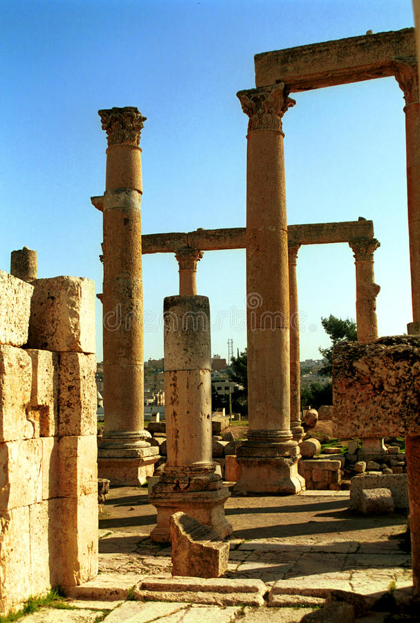 Romaren fördärvar av Gerasa, Jerash, Jordanien arkivfoto