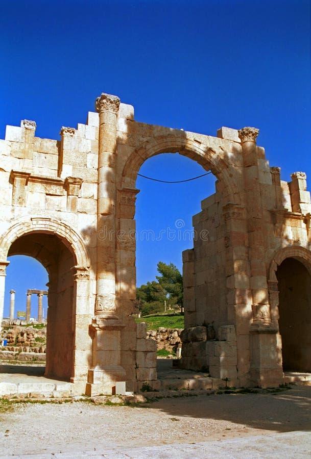 Romaren fördärvar av Gerasa, Jerash, Jordanien arkivbild