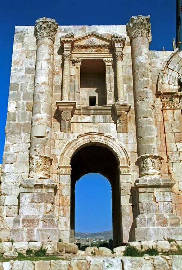 Romaren fördärvar av Gerasa, Jerash, Jordanien royaltyfri foto