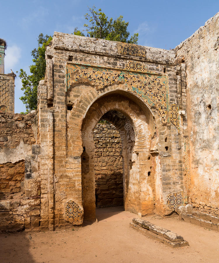 Romaren fördärvar på Chellah Marocko arkivfoto
