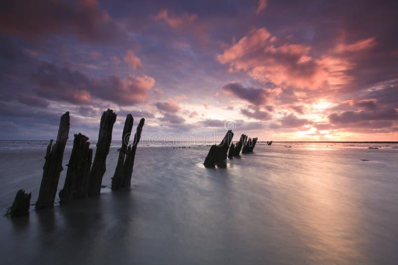 Romatic Sonnenaufgang in den Niederlanden lizenzfreies stockbild