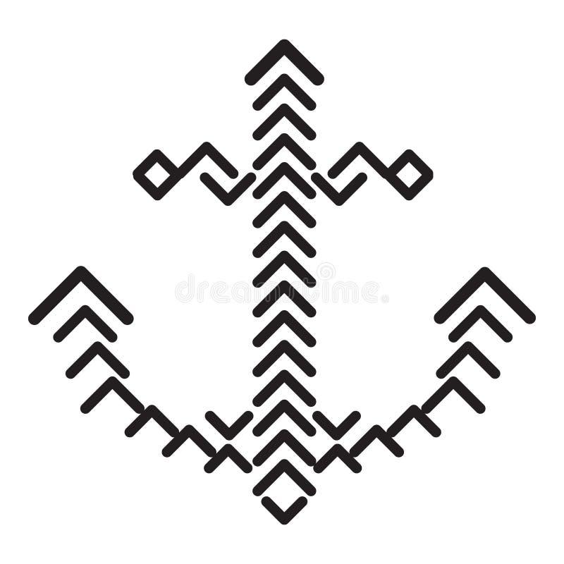 Romb ankarsymbol, enkel stil stock illustrationer