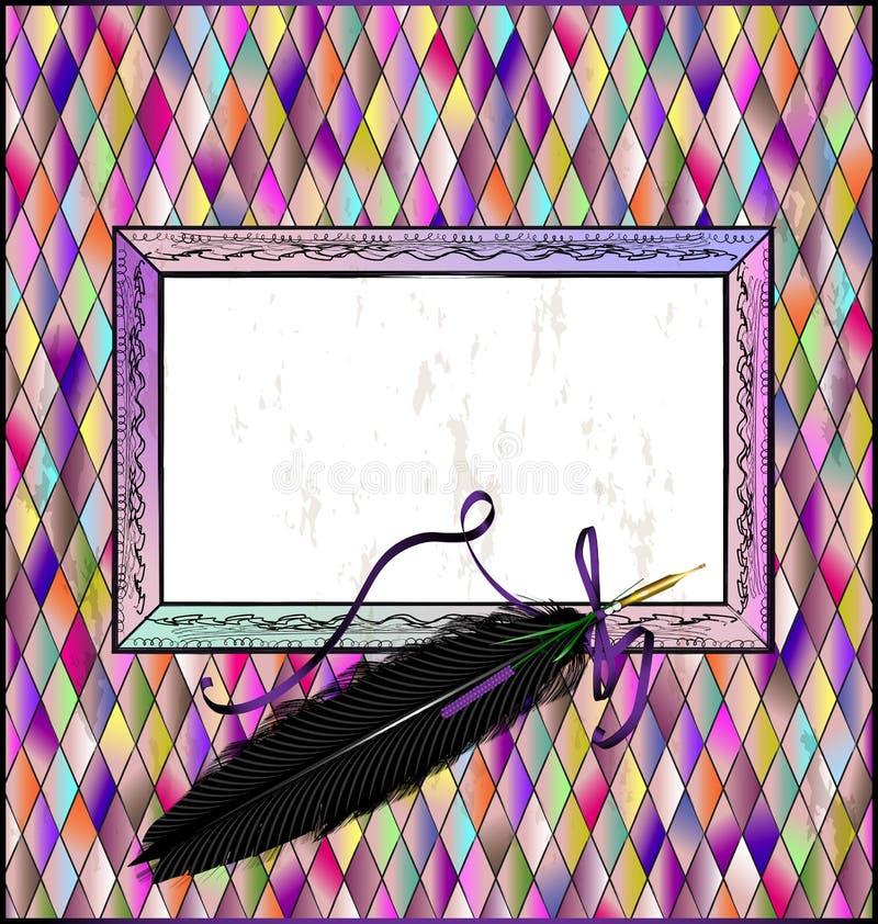 Romb púrpura con la pluma negra de la pluma ilustración del vector