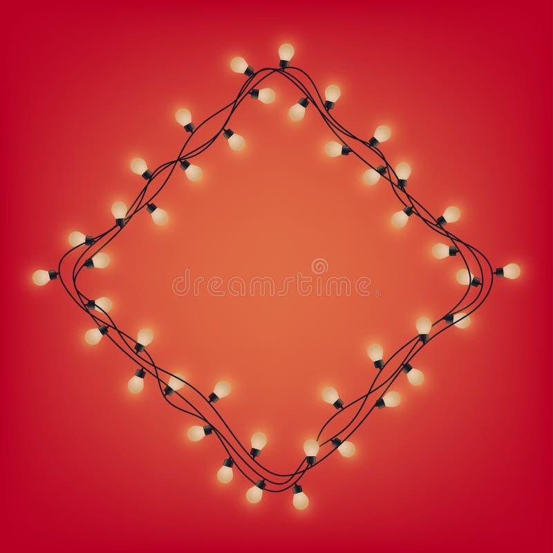 Rombkader van gloeiende slinger, decoratieve lichte slinger, vierkante plaats voor tekst met glanzende lampen, die bounding vakje vector illustratie