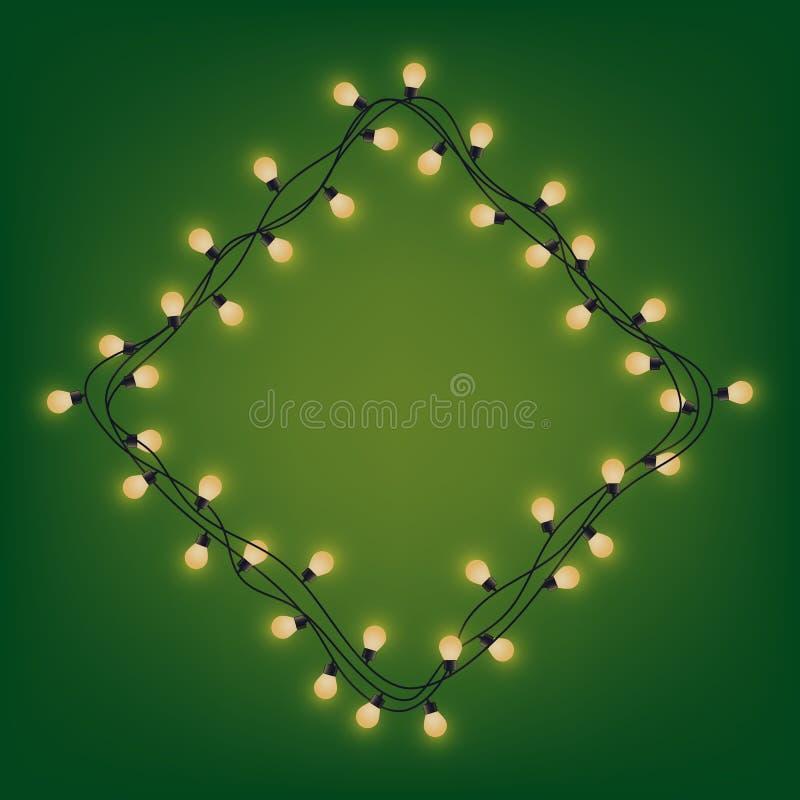 Rombkader van gloeiende slinger, decoratieve lichte slinger, vierkante plaats voor tekst met glanzende lampen, die bounding vakje royalty-vrije illustratie