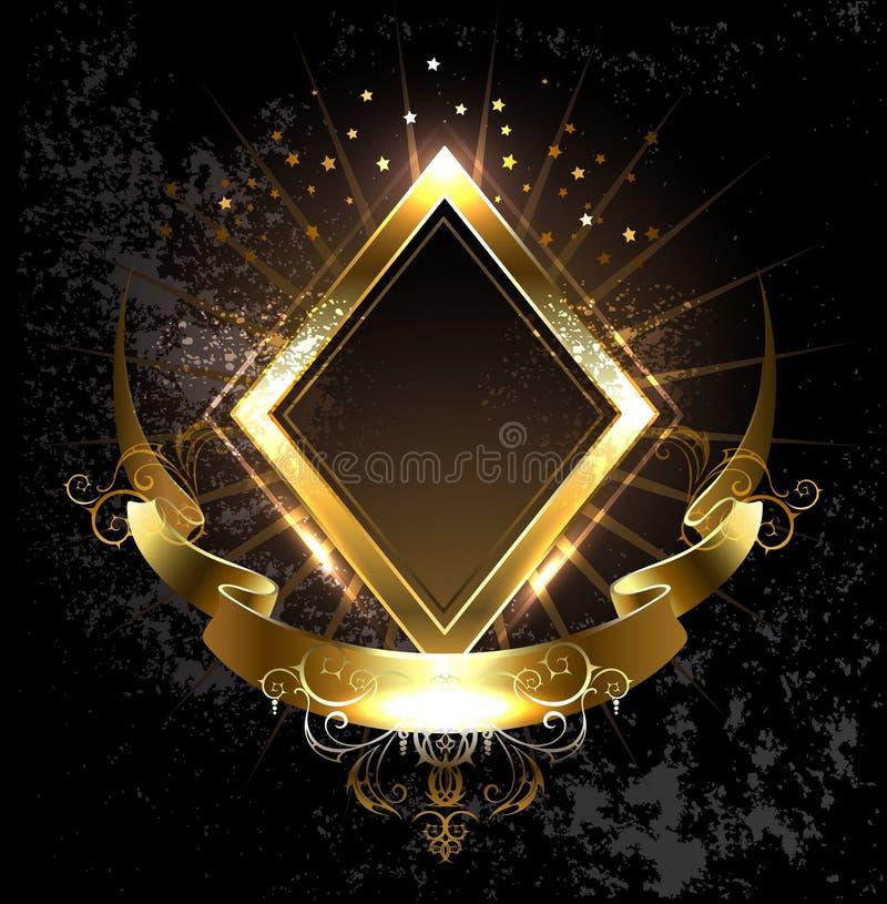 Rombo da bandeira do ouro ilustração stock