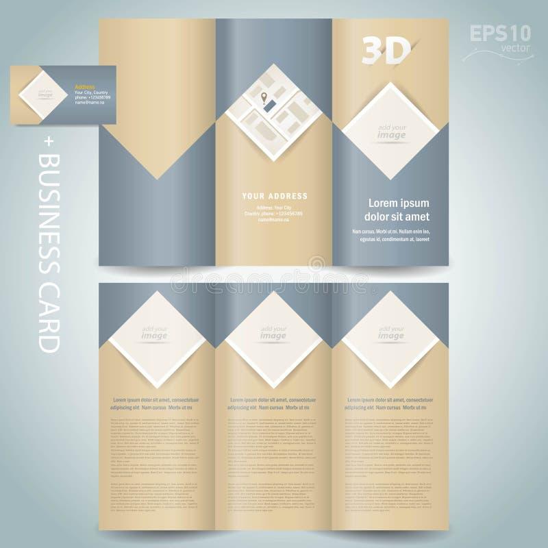Rombo dobrável em três partes do folheto do dobrador do vetor do molde do projeto do folheto, quadrado, bloco para imagens ilustração do vetor