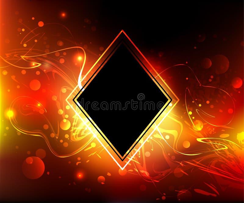Rombo preto em um fundo do fogo ilustração do vetor