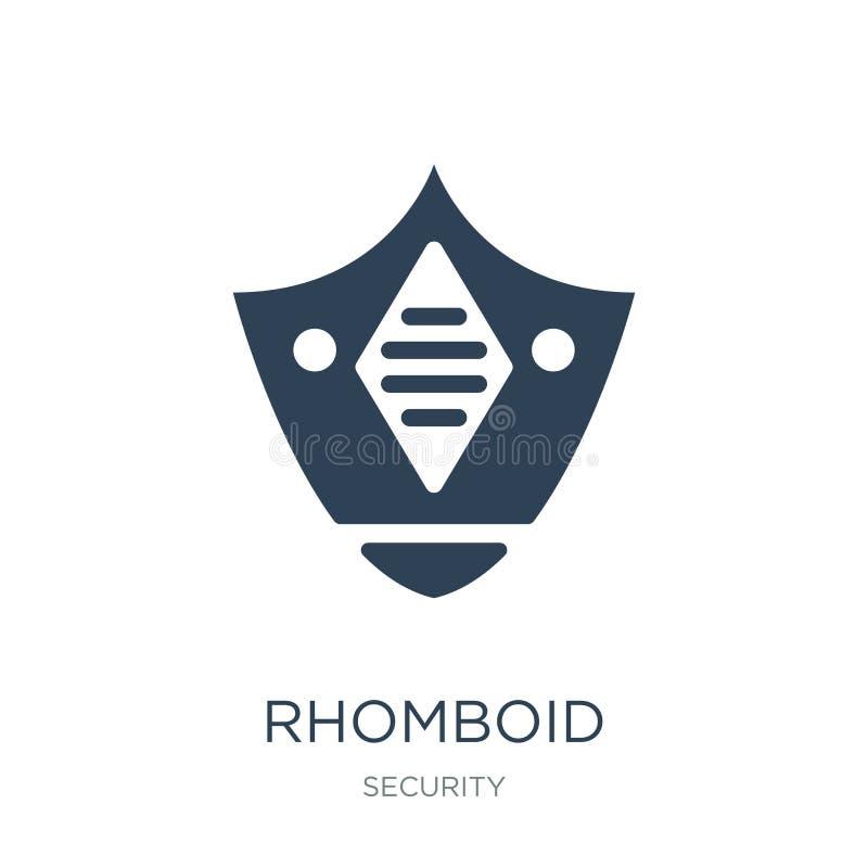 romboidisk symbol i moderiktig designstil romboidisk symbol som isoleras på vit bakgrund enkel och modern lägenhet för romboidisk stock illustrationer