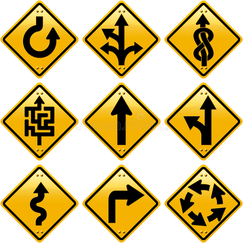 Rombowi żółci drogowi znaki z strzała kierunkami ilustracji