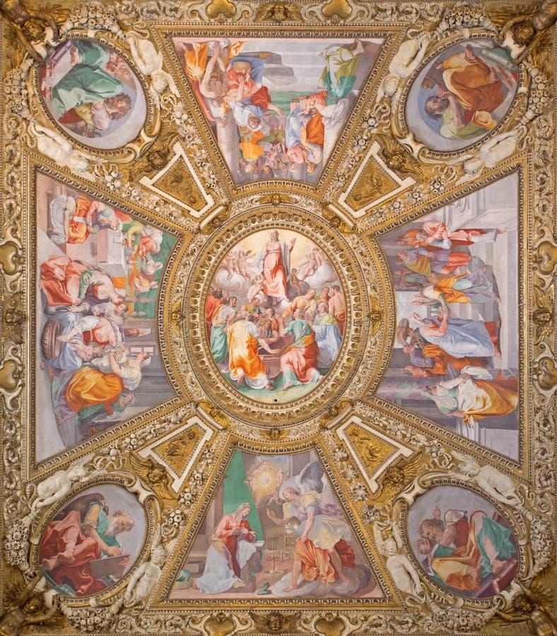 Rome - 'acceptation de la Vierge' par Domenichino sur le plafond de la chapelle latérale des Di Santa Maria de basilique dans Tra photos stock