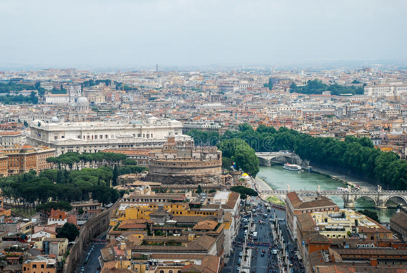 Rome aerial view. Aerial view of the buildings and streets from the roof point of The Papal Basilica of St. Peter in Vatican city, Italy royalty free stock image