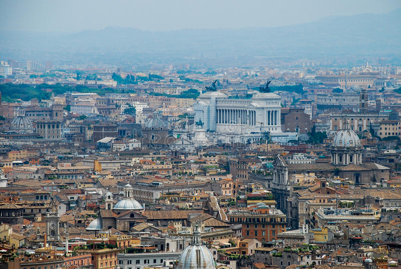 Rome aerial view. Aerial view of the buildings and streets from the roof point of The Papal Basilica of St. Peter in Vatican city, Italy royalty free stock photos