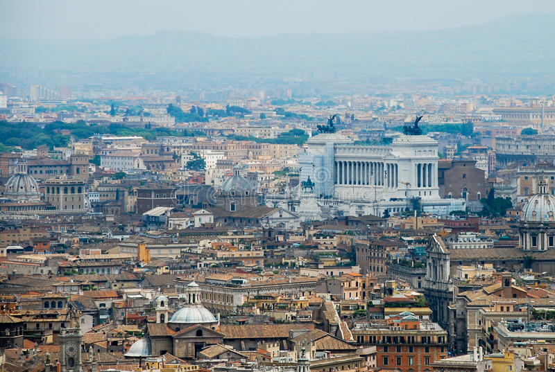Rome aerial view. Aerial view of the buildings and streets from the roof point of The Papal Basilica of St. Peter in Vatican city, Italy royalty free stock images