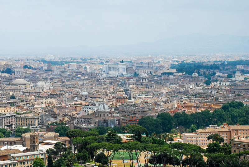 Rome aerial view. Aerial view of the buildings and streets from the roof point of The Papal Basilica of St. Peter in Vatican city, Italy stock photography
