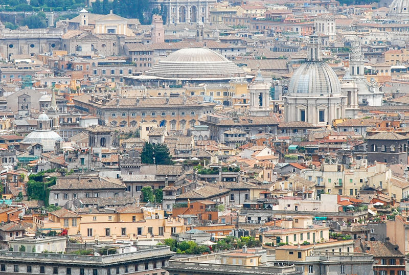 Rome aerial view. Aerial view of the buildings and streets from the roof point of The Papal Basilica of St. Peter in Vatican city, Italy stock photos