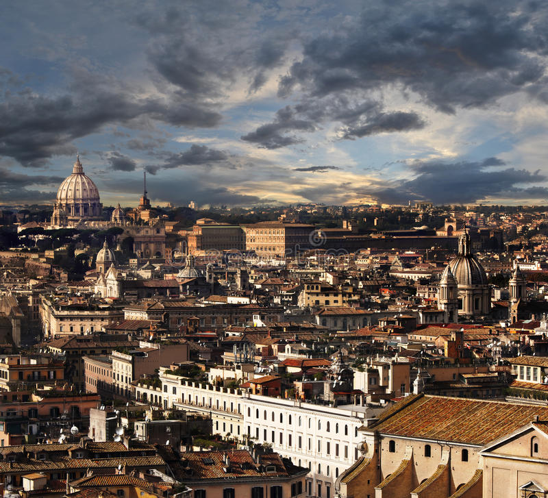 Rome, aerial view panorama landscape. A breathtaking view of the city of Rome (Italy). View from above. Visible numerous historical monuments of the capital. St royalty free stock photos