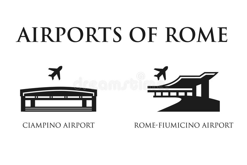 Rome Airport symbols. Pictogram in black and white. Icon of Italy vector illustration
