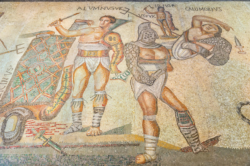 Rome. Ancient Roman floor mosaic depicting gladiators in the Galleria Borghese. royalty free stock photo