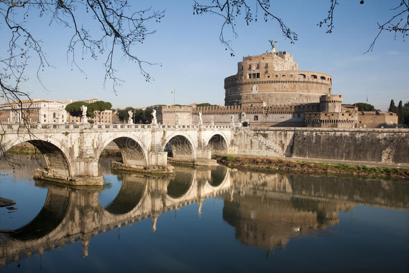 Rome - Angels bridge and castle stock photos
