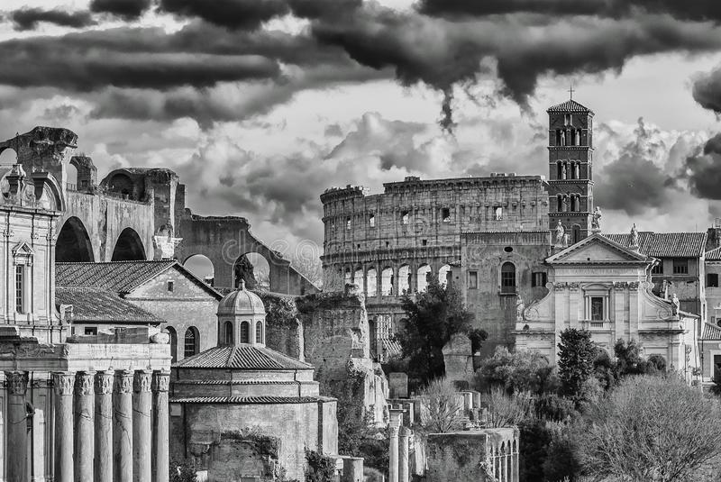 Rome antiquities and monuments stock photo