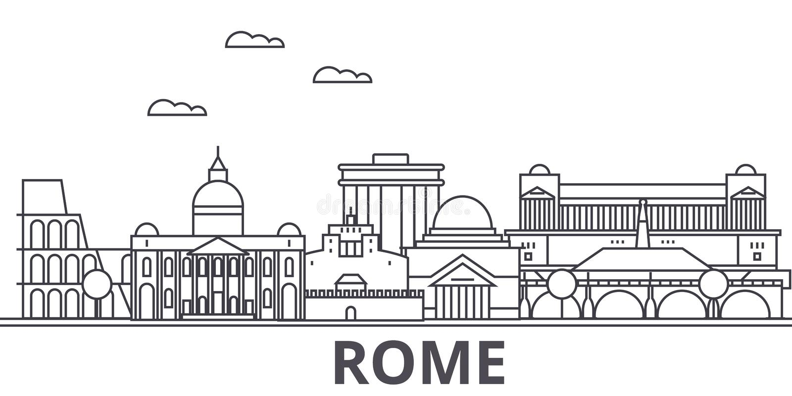 Rome architecture line skyline illustration. Linear vector cityscape with famous landmarks, city sights, design icons. Editable strokes stock illustration