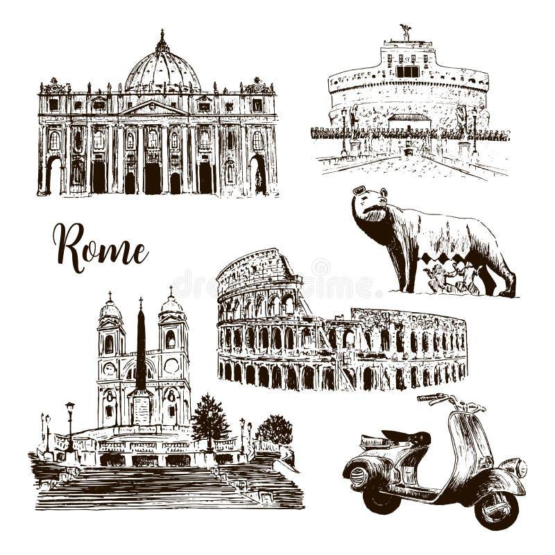 Rome arkitektoniska symboler: Coliseumen, St Peter Cathedral, vargen, romulusen, drog vektorn för sparkcykel den etc. skissar ill royaltyfri illustrationer