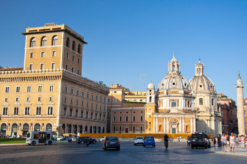 5 Rome-AUGUSTUS: Palazzo Di Venezia op 5 Augustus, 2013 in Rome, Italië. royalty-vrije stock afbeeldingen