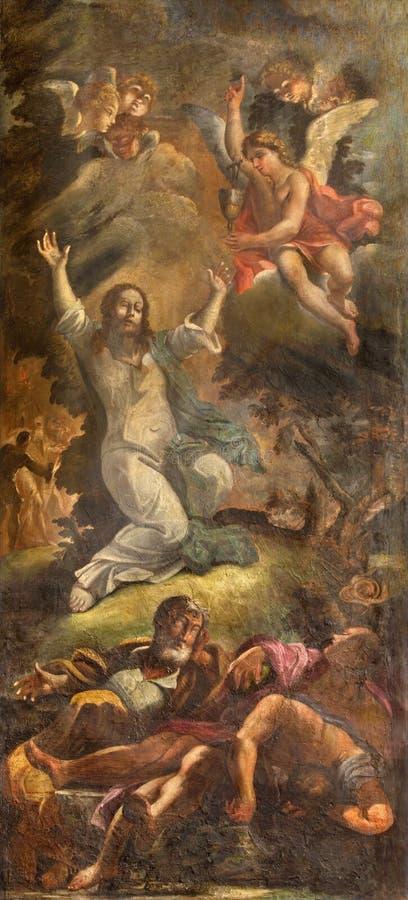 Rome - bön av Jesus i den Gethsemane trädgården Freskomålning i kyrkliga Chiesa di Santo Spirito i Sassia av den okända konstnäre royaltyfri bild