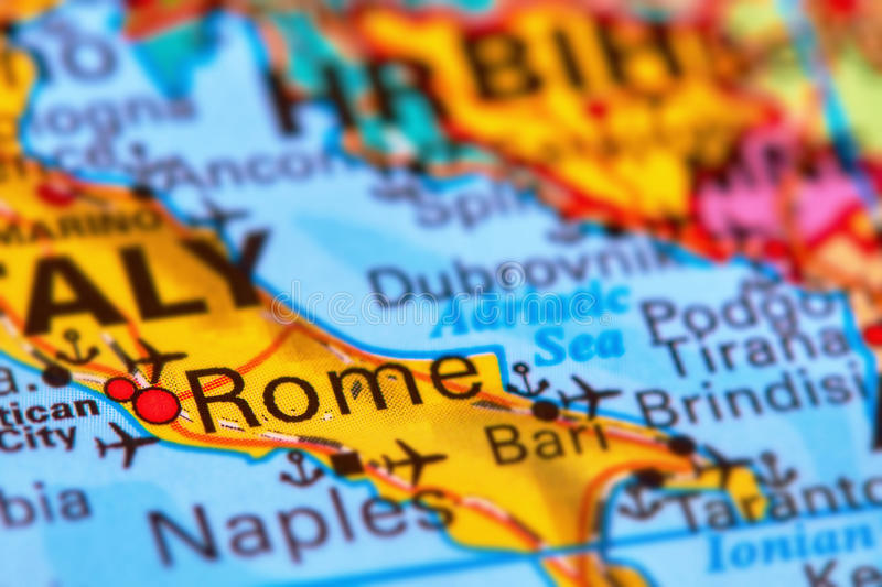 Rome, Capital City of Italy on the Map. Rome, Capital City of Italy on the World Map stock images