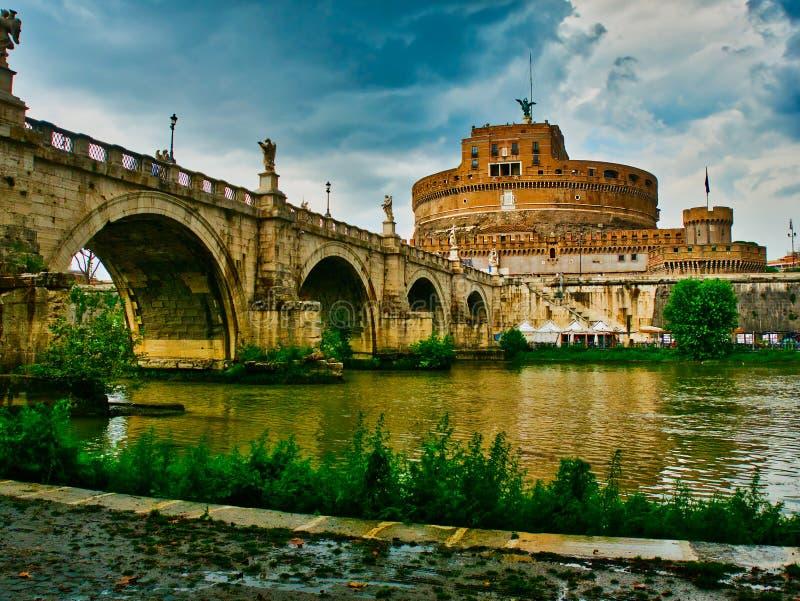 Rome Castel Saint Angel and bridge Tiber river stock image