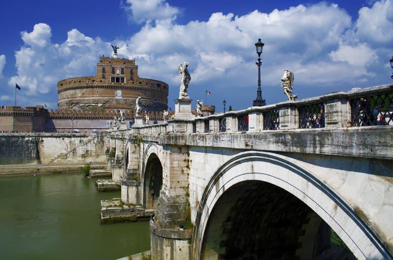 Rome - Castel Sant'Angelo (Mausoleum van Hadrian) stock foto