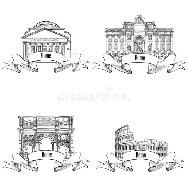 Rome citiy famous buildings: Pantheon, Constantin's Arc, Fountain. Rome citiy symbols sketch: Pantheon, Constantin's Arc, Fountain di Trevi, Colosseum. Travel stock illustration