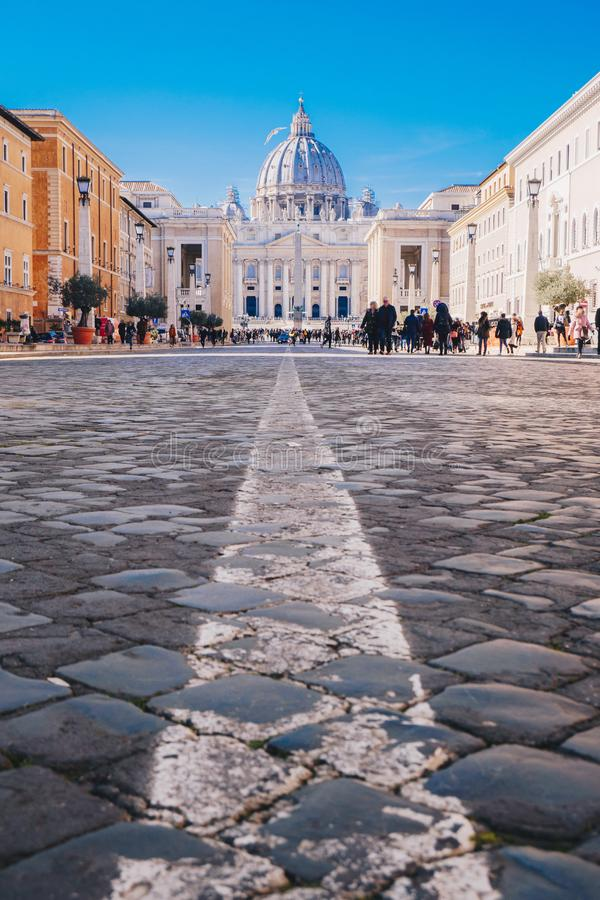 Rome city streets to Vatican City and St. Peters Basilica. Focus stock images