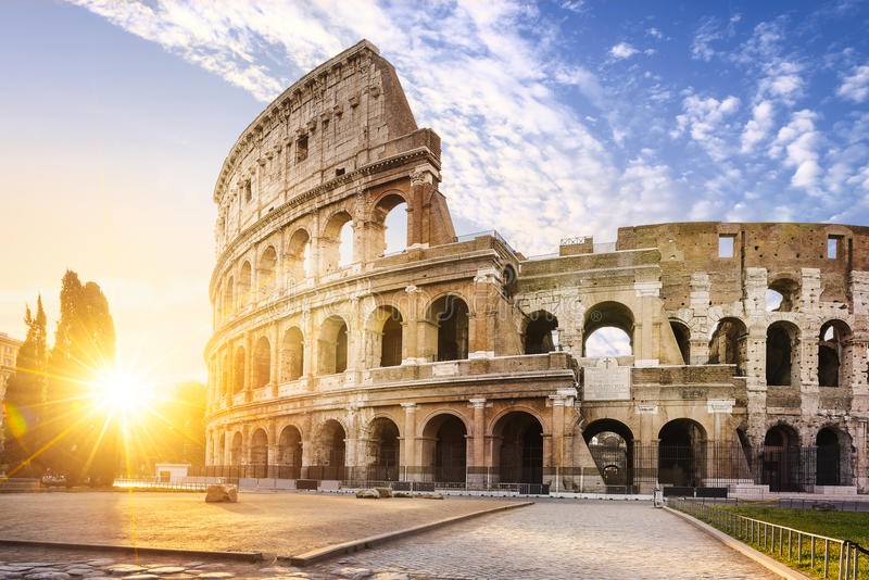 Rome city by sunrise stock photography