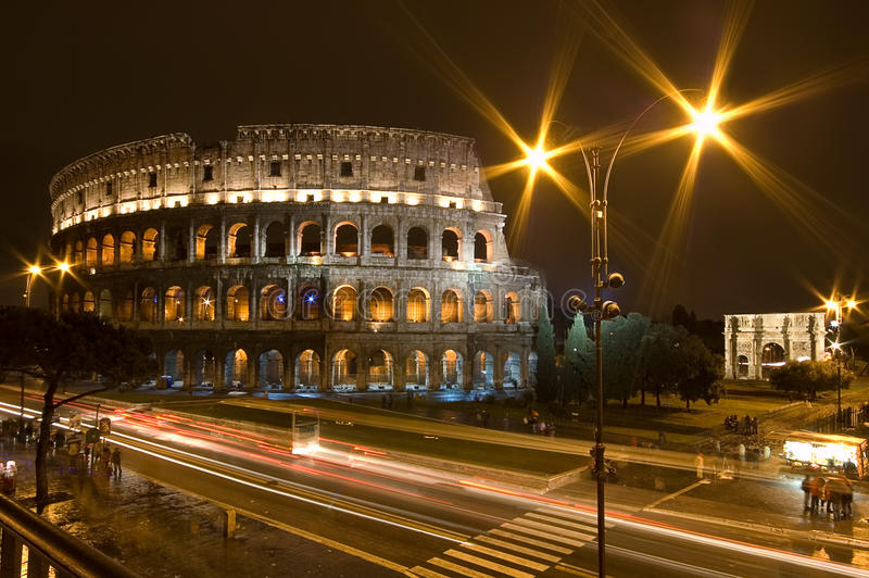Rome Coliseum by night royalty free stock image