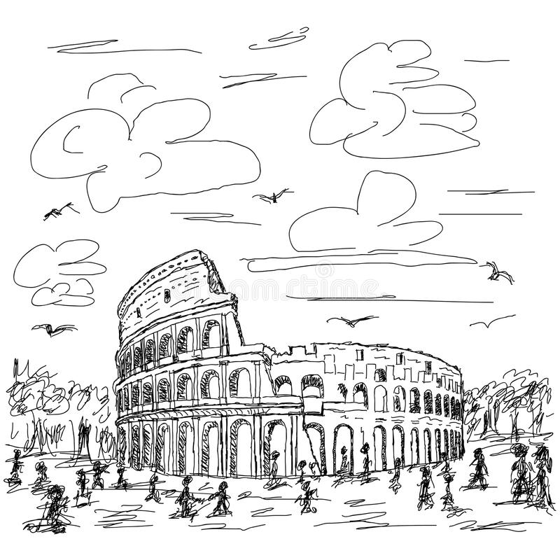 Download Rome colosseum stock illustration. Image of graphic, historic - 27311509