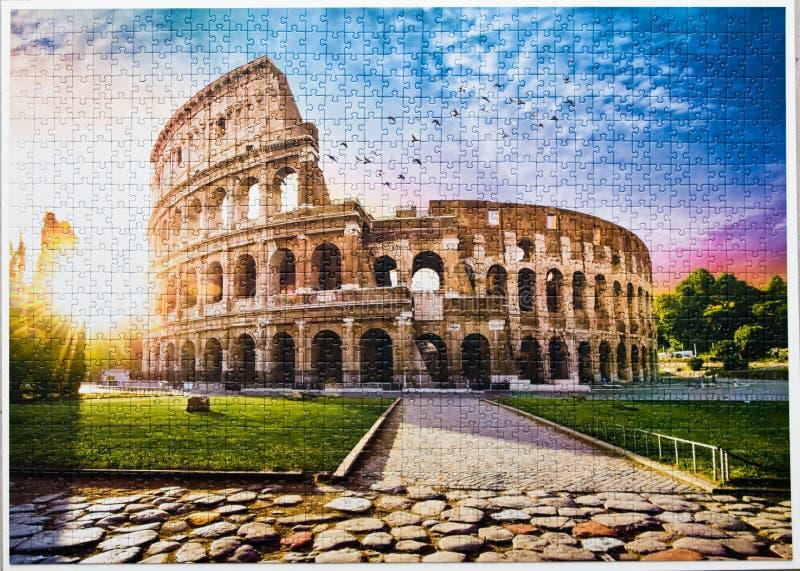 Rome Colosseum assembled puzzle image stock photos
