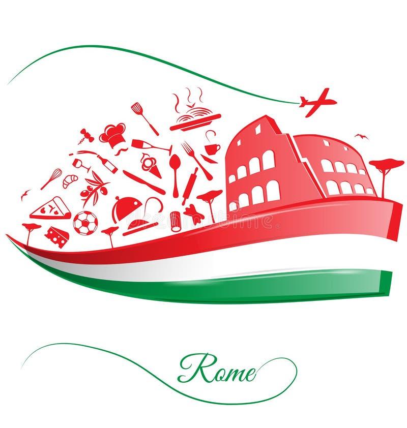 Rome colosseum på italiensk flagga vektor illustrationer